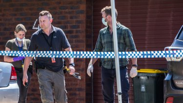 Police at the accused man's family home in Werribee on Tuesday.
