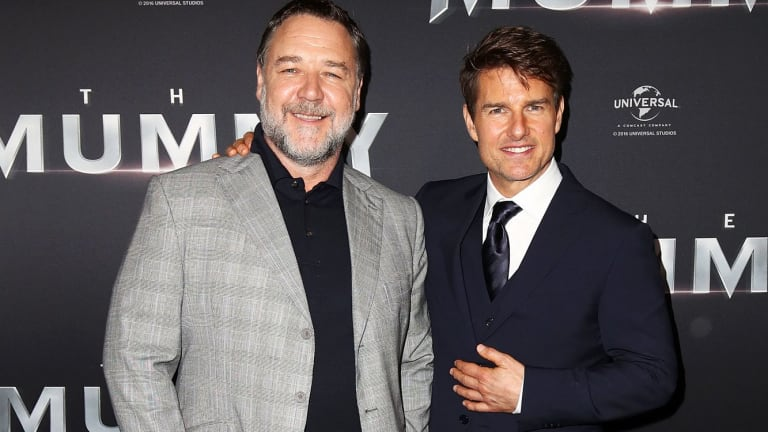 Crowe and Cruise in Sydney on Monday night.