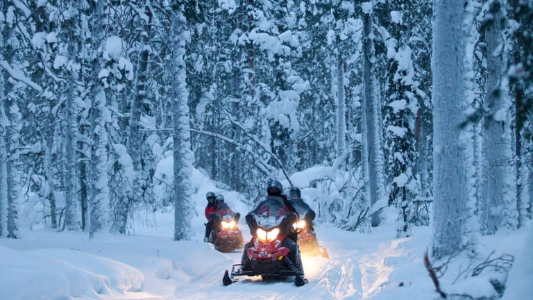 Snowmobiling is a popular guest activity at Harriniva Holiday Centre.