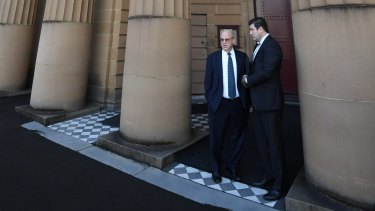 Eddie Obeid and his solicitor outside the Darlinghurst Supreme Court.