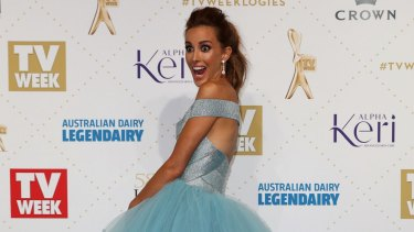 From designer to discount: Bec Judd, pictured here at the Logies in May wearing a designer J'Aton gown, can't get enough of Kmart's $2 bowls.