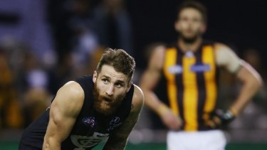Worried much? Zach Tuohy at Etihad, where the Blues took on the Hawks on July 24.