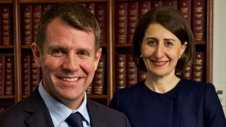 NSW Premier Mike Baird and Treasurer Gladys Berijiklian in the Premier's office