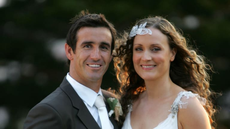 Andrew Johns and Cathrine Mahoney's wedding day in 2007.