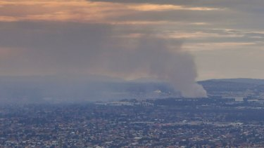 Smoke from the fire at the Coolaroo recycling plant.