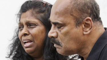 Anguish: Myuran Sakamaran's mother and father Raji and Sam Sukumaran.