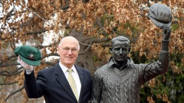"With ""The Don"" at Sir Donald Bradman's 100th birthday celebrations at Bradman Oval, Bowral, in 2008."