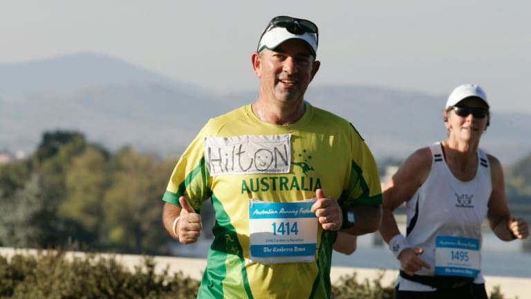 Hilton Kahlberg running the Canberra marathon in 2016. He will take on the same event this year in April.