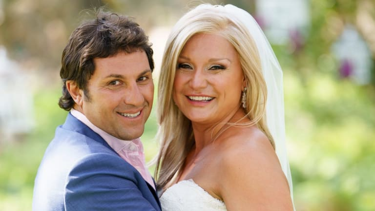 Nasser Sultan, left, with his bride Gabrielle Bartlett on Nine's Married at First Sight.