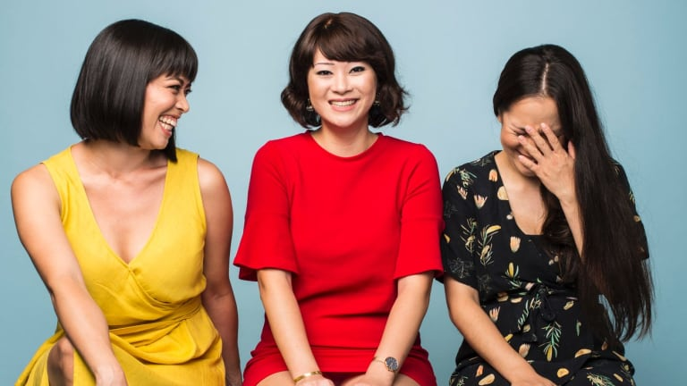 Writer of the new play <i>Single Asian Female</i>, Michelle Law (middle), with actors Alex Lee (left) and Courtney Stewart (right).