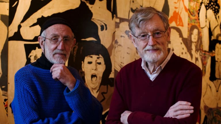 Frank Watters (left) and Geoffrey Legge, seen here in 2009, opened the Watters Gallery in 1964.