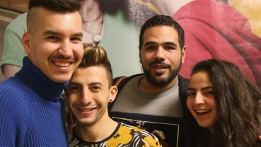 From left: Gay Syrian refugees Steve, Auz and Enana, with Egyptian Moe (second from right), in Berlin, Germany, are fleeing war and persecution in their home countries.