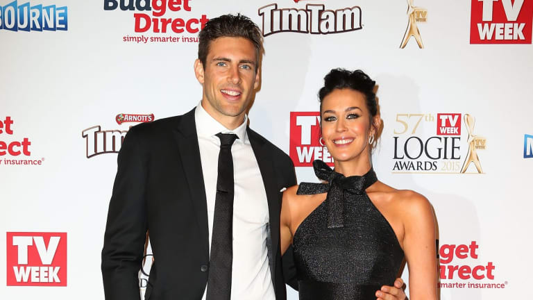 Shaun Hampson and Megan Gale arrive at the 57th Annual Logie Awards at Crown Palladium on May 3, 2015 in Melbourne, Australia.