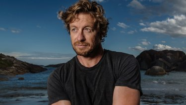 "Director and actor Simon Baker at one of the locations of ""Breath""."