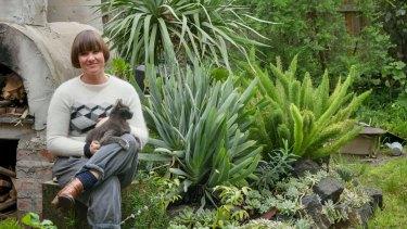 Artist Tai Snaith in her Northcote  garden.