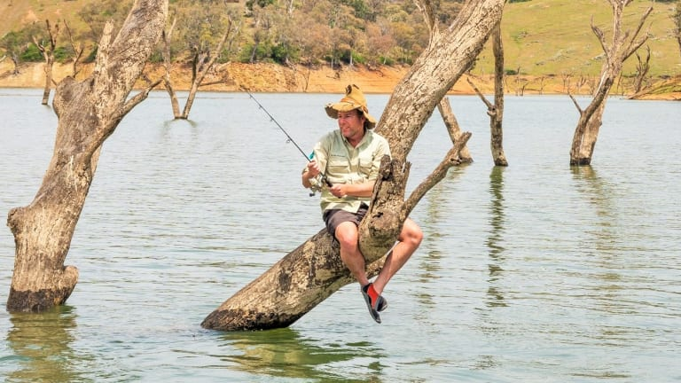 High and dry: Lake Burrinjuck is a popular spot for fishing.