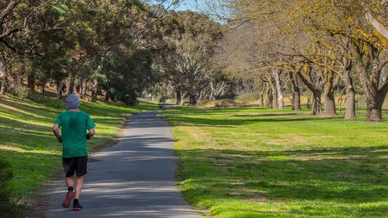 The Barwon River Trail is popular with cyclists.