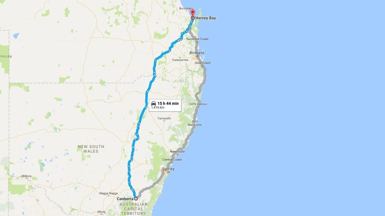 A Google Maps prediction of the likely route taken through Kingaroy to Hervey Bay by the tiny home and its thief.