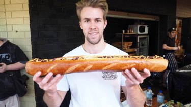 Sam Brouwer with the 24 inch mega-dog.
