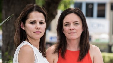 Domestic violence campaigner Angela Zena Hadchiti, left, and Labor MP Emma Husar are calling for alleged domestic violence perpetrators to be banned from cross-examining victims in court.
