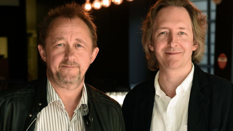 The outgoing STC artistic director Andrew Upton (left) with his successor Jonathan Church.