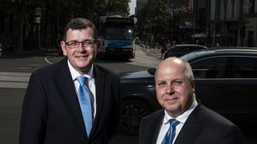 Victorian Premier Daniel Andrews with his Treasurer, Tim Pallas.