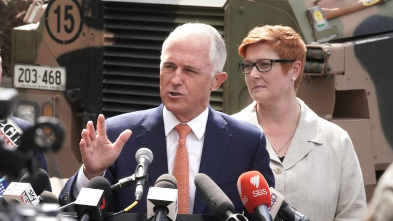 Malcolm Turnbull and Defence Minister Marise Payne visit weapon-maker Thales last month.