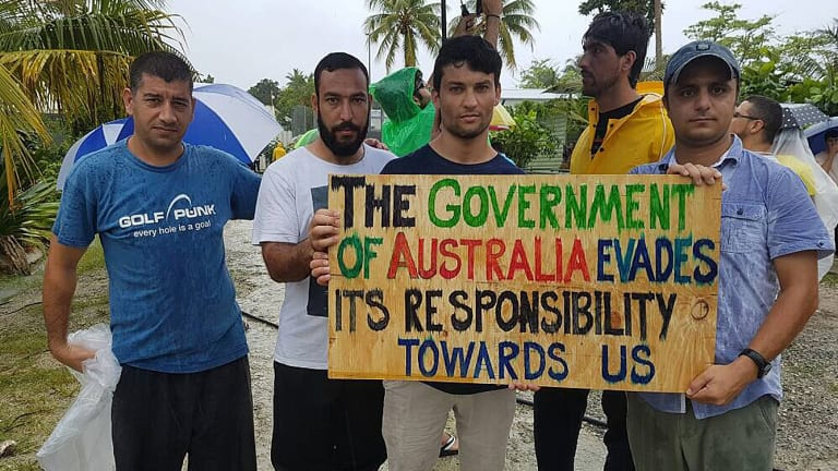 Refugees and asylum seekers during a protest at the Manus Island detention centre in October.