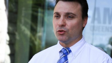 Australian Medical Association Queensland president Chris Zappala speaks to media outside the organisation's head office in Kelvin Grove.