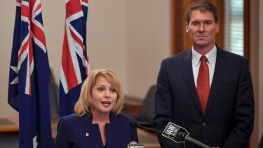 Cory Bernardi with his new Australian Conservatives recruit, Victorian state parliamentarian Rachel Carling-Jenkins.