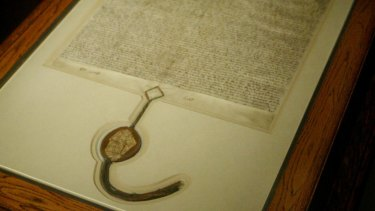 A copy of the Magna Carta held at Australian Parliament House.