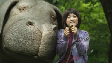 Ahn Seo-Hyun Ahn as Mija with Okja.