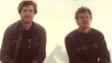 The two brothers, Scott Johnson (right) and Steve Johnson, at the Swiss-Italian border with the Matterhorn in the background in 1984.