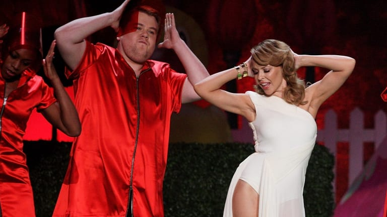 Old mates ... Corden and Minogue perform at the 2009 Brit Awards.