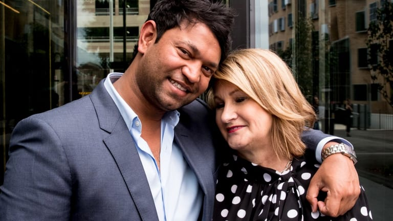 Saroo Brierley with his adopted mother Sue Brierley in Sydney this month.