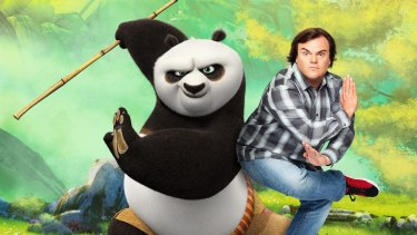 An awkward moment with Jack Black as Kung Fu Panda comes out