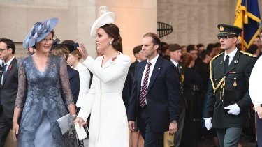 Queen Mathilde of Belgium and the  Duchess of Cambridge arrive at the Menin Gate in Ypres, Belgium, ahead of commemorations marking the 100th anniversary of the Battle of Passchendaele.