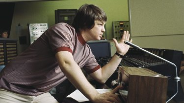Brian Wilson directs from the control room, while recording the album Pet Sounds in 1966 in Los Angeles.