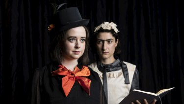 Enya Daly (in orange) plays as Hudley and Diana Popovska plays Marjory in an adaption of The Moors which will be showing at the Seymour Centre in Sydney.