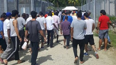 Refugees and asylum seekers at the Manus Island immigration detention centre in Papua New Guinea.