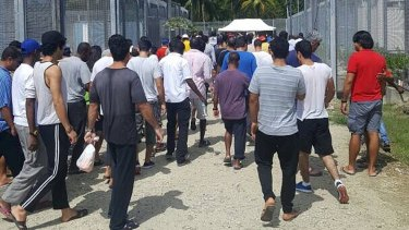 Men at the offshore processing centre at Manus Island.