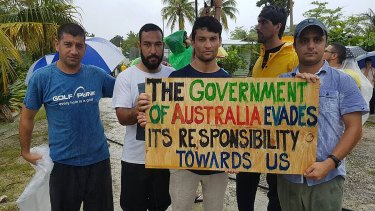 Refugees and asylum seekers during a recent protest at the Manus Island immigration detention centre in Papua New Guinea.