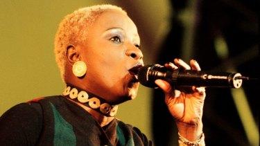 Angelique Kidjo performing at Hemispheres in Centennial Park in 2000.