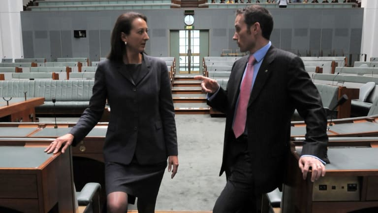 Room for one more: Gai Brodtmann and Andrew Leigh at Parliament House.
