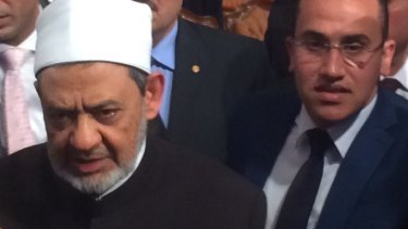 One of Sunni Islam's highest authorities, Sheikh Ahmed al-Tayeb, left, at an interfaith conference in Cairo on Thursday.