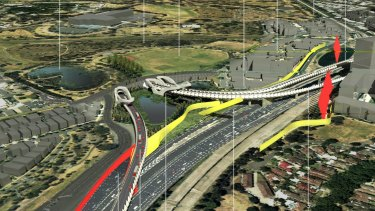 An artist's impression of the East West Link flyover to Tullamarine Freeway (North Bound). Image supplied