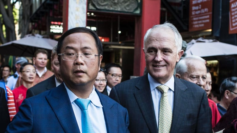 Xiangmo Huang and Prime Minister Malcolm Turnbull in Sydney.