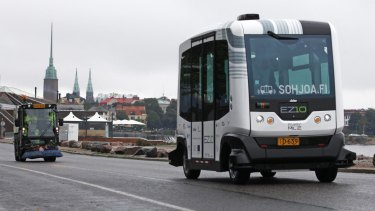 An EasyMile EZ-10 self-driving shuttle bus during testing as part of the Sohjoa pilot project in Helsinki, Finland, in August this year.