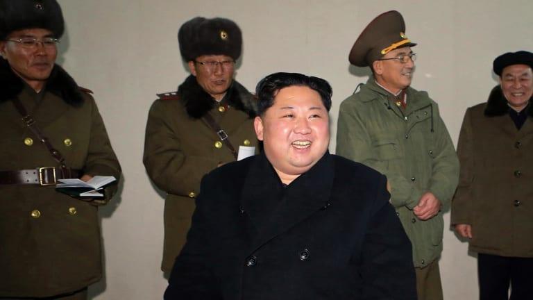 North Korean leader Kim Jong-un inspects an intercontinental ballistic missile test in North Korea.
