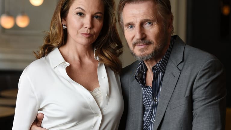 """Diane Lane and Liam Neeson, cast members in the film """"Mark Felt: The Man Who Brought Down the White House""""."""